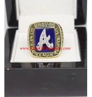 1991 Atlanta Braves National League Baseball Championship Ring, Custom Atlanta Braves Champions Ring